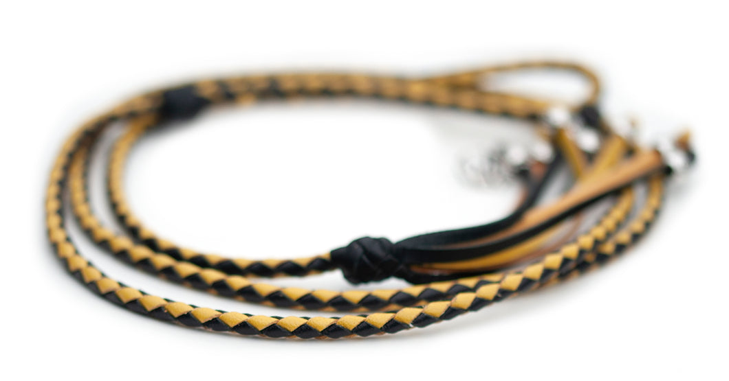 Kangaroo leather show lead in black & yellow