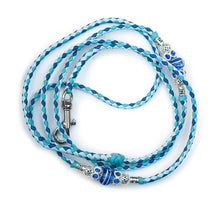 Kangaroo leather show lead in baby blue, jacaranda & sky blue - Emoticon