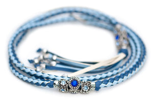 Kangaroo leather show lead in jacaranda & baby blue - Emoticon Kangaroo Leather Show Leads