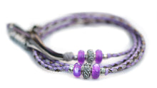 Kangaroo leather show lead in lavender, dove grey & pewter - Emoticon Kangaroo Leather Show Leads