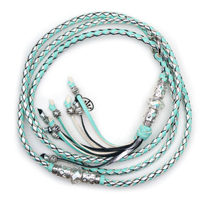 Kangaroo leather show lead in mint & silver - Emoticon Kangaroo Leather Show Leads