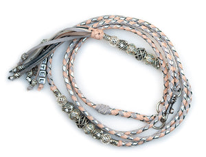 Kangaroo leather show lead in dove grey, natural & silver - Emoticon Kangaroo Leather Show Leads