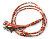 Kangaroo leather show lead in orange, bronze & gold - Emoticon Kangaroo Leather Show Leads