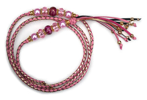 Kangaroo leather show lead in soft pink & gold - Emoticon Kangaroo Leather Show Leads