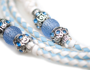 Kangaroo leather show lead in white & baby blue - Emoticon Kangaroo Leather Show Leads