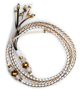 Kangaroo leather show lead in white & gold - Emoticon Kangaroo Leather Show Leads
