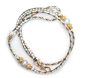 Kangaroo leather show lead in white, pewter & gold - Emoticon Kangaroo Leather Show Leads