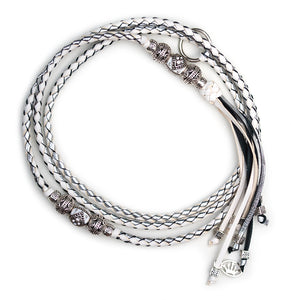 Kangaroo leather show lead in white & silver - Emoticon Kangaroo Leather Show Leads