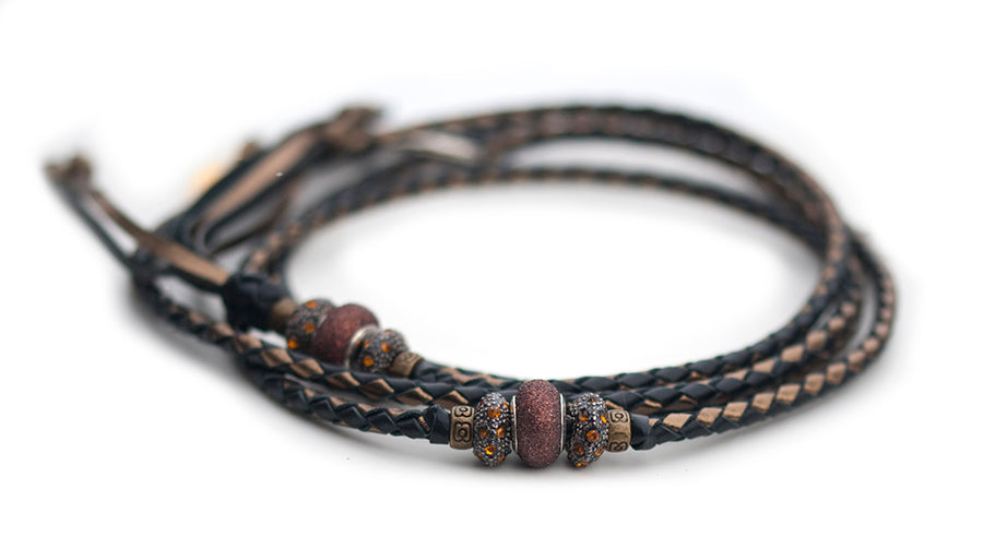 Kangaroo leather show lead in black & bronze - Emoticon