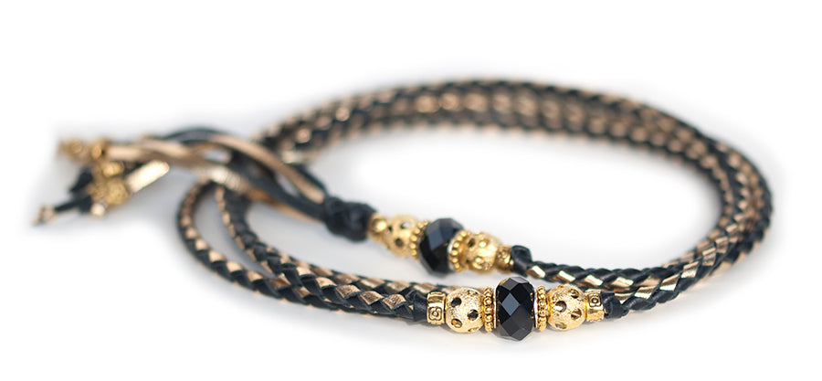 Kangaroo leather show lead in black & gold - Emoticon