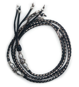 Kangaroo leather show lead in black & pewter - Emoticon Kangaroo Leather Show Leads