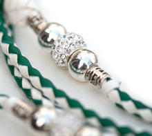 Kangaroo leather show lead in jade & white - Emoticon Kangaroo Leather Show Leads