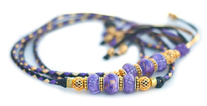 Kangaroo leather show lead in black, moroccan purple & gold