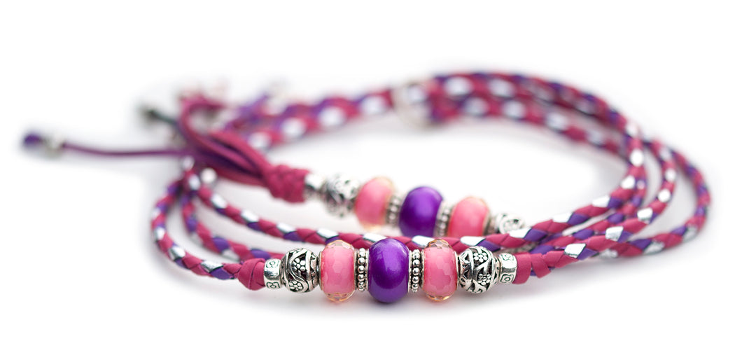 Kangaroo leather show lead in hot pink, moroccan purple & silver