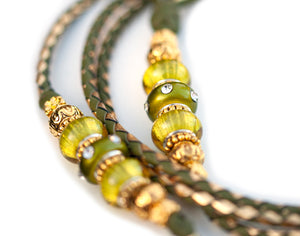 Kangaroo leather show lead in olive & gold