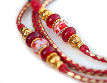 Kangaroo leather show lead in red & gold