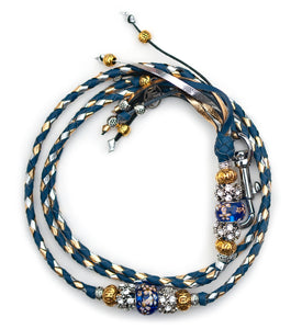 Kangaroo leather show lead in royal blue, gold & silver
