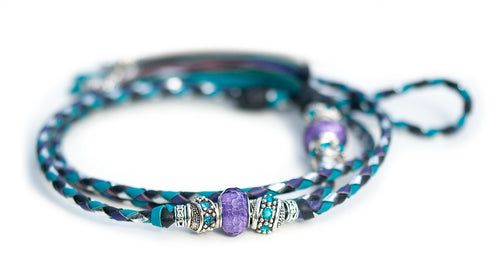 Kangaroo leather show lead in purple, black, silver & turquoise
