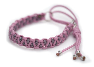 Martingale paracord collar in Lavender Pink / Lavender Pink & Charcoal Grey Diamonds