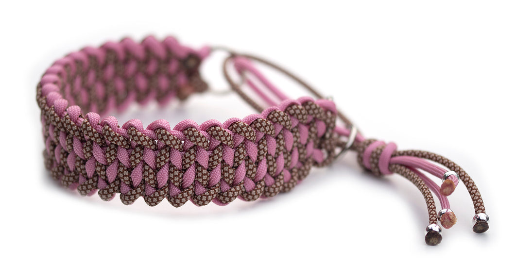 Martingale paracord collar in Chocolate Brown & Mocca Diamonds / Lavender Pink