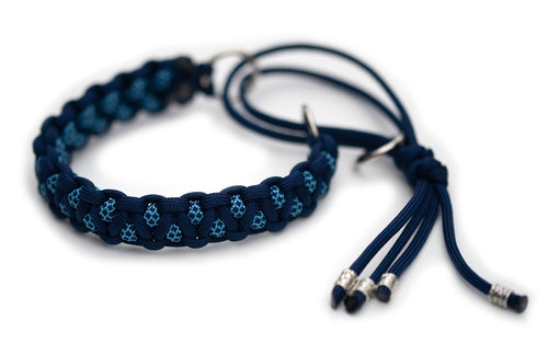 Martingale paracord collar in Midnight Blue / Baby Blue & Midnight Blue Diamonds