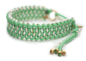 Martingale paracord collar in Mint / White & Gold Glitter