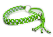 Martingale paracord collar in Neon Green / Paraglow White (glow in the dark)