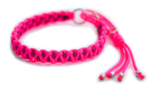 Martingale paracord collar in Neon Pink / Neon Pink & Black Stripes