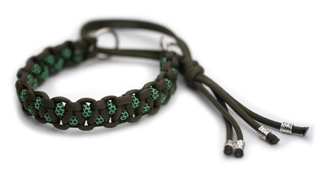 Martingale paracord collar in Olive Drab / Mint & Olive Drab Diamonds