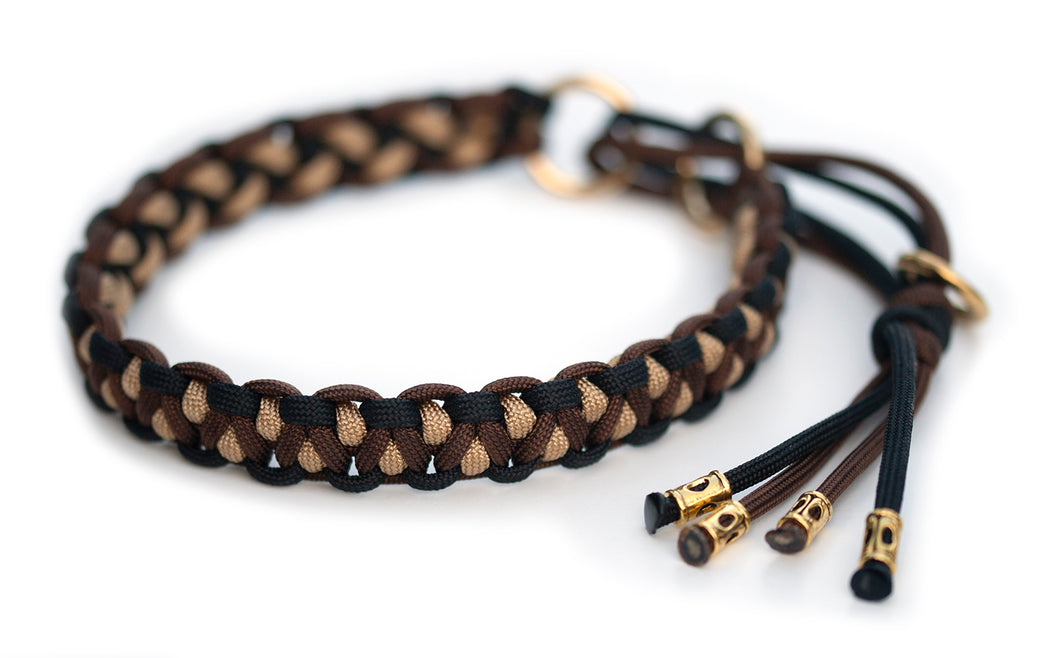 Martingale paracord collar brown black