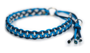 Martingale paracord collar blue silver