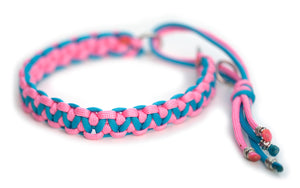 Martingale paracord collar pink blue
