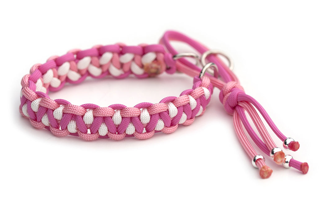 Martingale paracord collar in Pastel Pink / Bubble Gum Pink / White