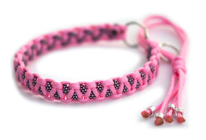 Martingale paracord collar in Rose Pink / Rose Pink Diamonds