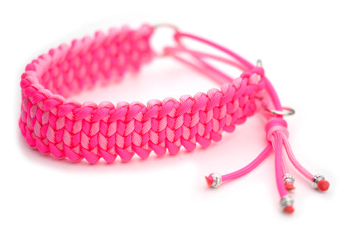 Martingale paracord collar in Rose Pink / Neon Pink