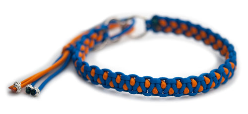 Martingale paracord collar in Royal Blue / Royal Orange