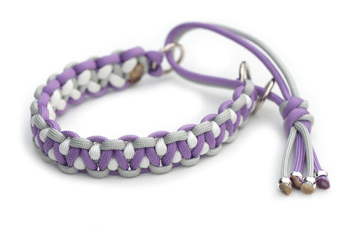 Martingale paracord collar in Silver Grey / Pastel Purple / White