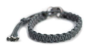 Martingale paracord collar in Smoke Grey /- Silver Diamonds