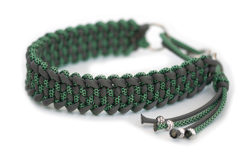 Martingale paracord collar in Steel Grey / Mint & Olive Drab Diamonds
