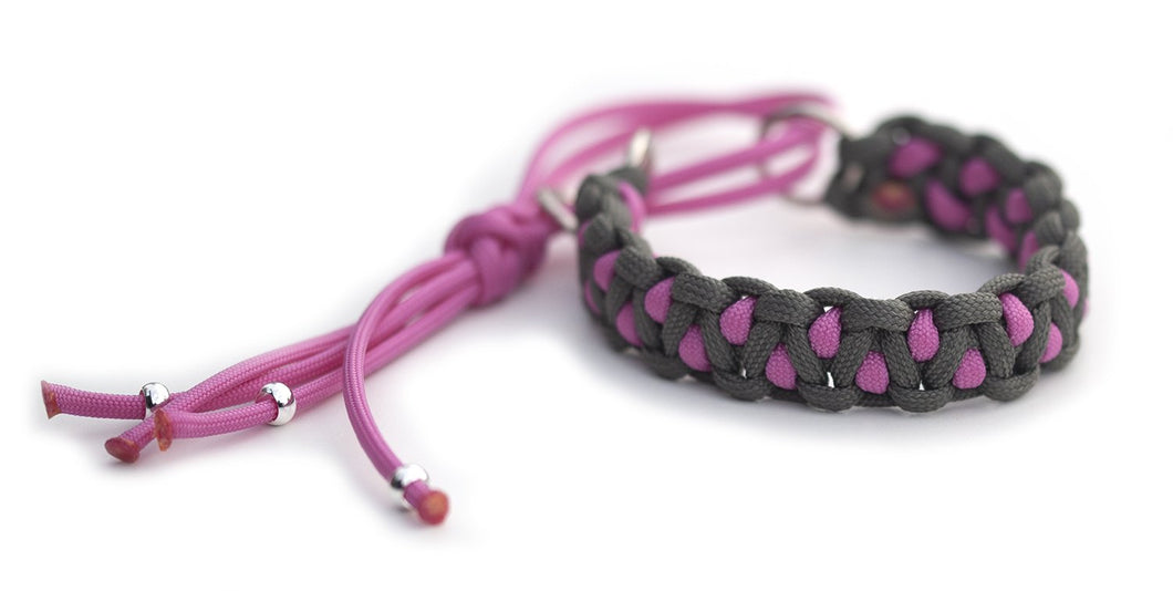 Martingale paracord collar in Steel Grey / Bubble Gum Pink