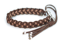 Martingale paracord collar in Walnut Brown / Chocolate Brown & Sand Diamonds