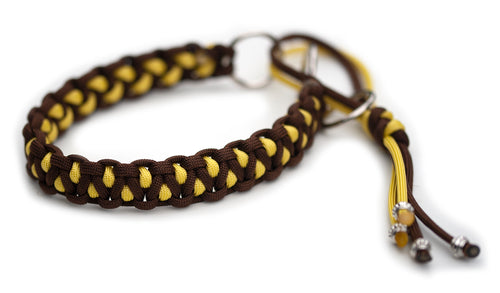 Martingale paracord collar in Walnut Brown / Banana Yellow