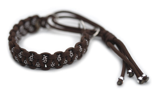 Martingale paracord collar in Walnut Brown / White & Walnut Brown Diamonds