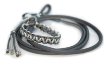 Round leather lead - GREY