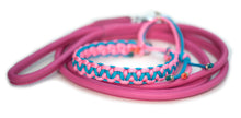 Round leather lead - PINK