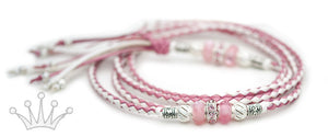 Kangaroo leather show lead in soft pink & white - Emoticon Kangaroo Leather Show Leads
