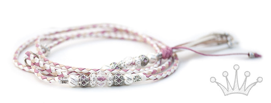 Kangaroo leather show lead in white, soft pink & natural - Emoticon Kangaroo Leather Show Leads