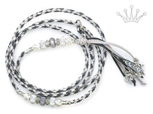 Kangaroo leather show lead in dove grey, silver & grey - Emoticon Kangaroo Leather Show Leads
