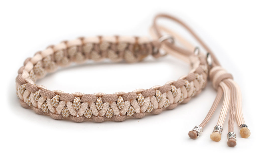 Paracord collar beige gold