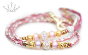 Kangaroo leather show lead in soft pink, natural & white - Emoticon Kangaroo Leather Show Leads